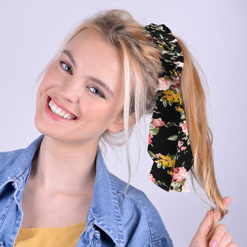 12pc Assorted Floral Scrunchy Ribbon Hair Tie