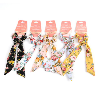 12pc Assorted Floral Scrunchy Ribbon Hair Tie - 12SRT-FLR4