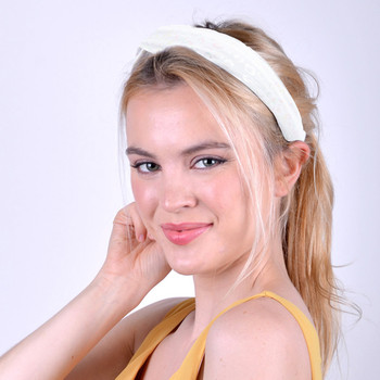 White Leopard Print Headband - EHB1011-WHT