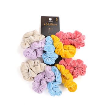 10pc Velvet Solid Color Hair Scrunchies - 5SHS-SLD3