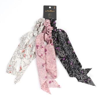 3pc Assorted Floral Scrunchy Ribbon Hair Tie - 3SRT-FLR2