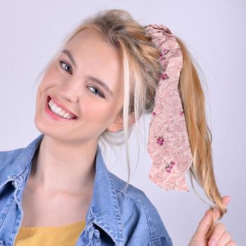 12pc Assorted Floral Scrunchy Ribbon Hair Tie - 3SRT-FLR2