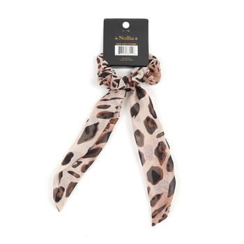 1pc Brown Cheetah Print Ribbon Hair Tie - 1SRT-CHT/BRN