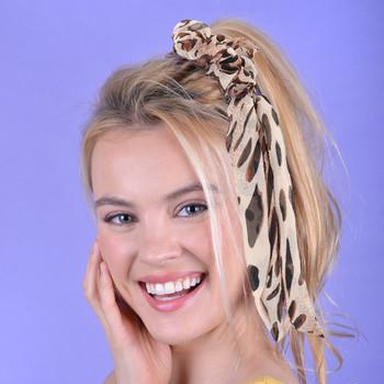 1pc Brown Cheetah Print Ribbon Hair Tie - 1SRT-CHT/BRN