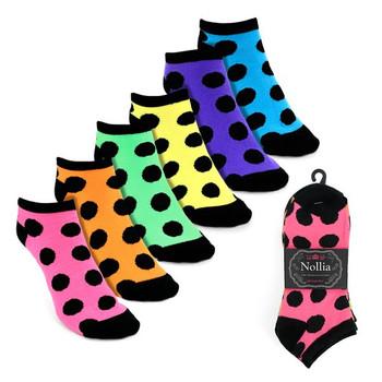 Assorted Pack (6 pairs) Women's Polka Dot Low Cut Socks LN6S1621
