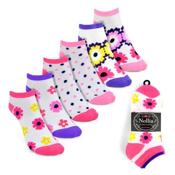 6pairs Women's Multicolor Flower Low Cut Socks LN6S1623