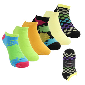 Assorted Pack (6 pairs) Women's Multicolor Low Cut Socks LN6S1624