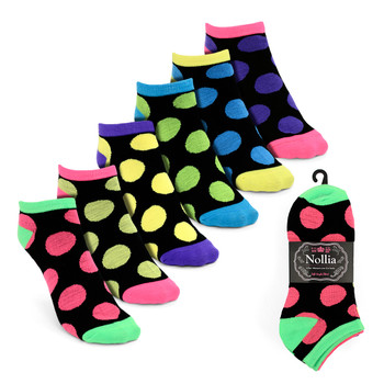 6pairs Women's Multicolor Polka Dot Low Cut Socks LN6S1625