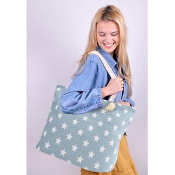 Light Blue Stars Ladies Tote Bag -LTBG1228-LTBL