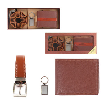 12pc Assorted Pack Wallet, Keychain & Belt Sets WKB4601-BROWN