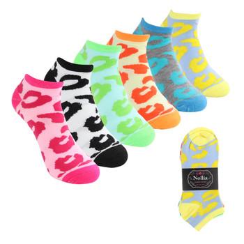 Assorted (6 pairs/pack) Women's Leopard Pattern Low Cut Socks - LN6S1701