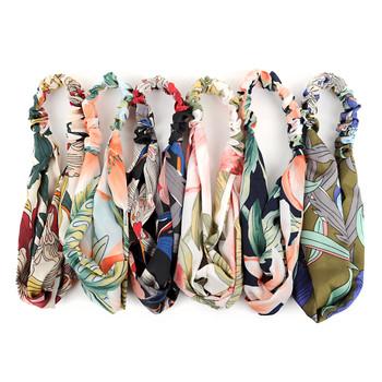 12pc Assorted Ladies Criss Cross Tropical Flower Print Summer Headbands - 12EHB1012