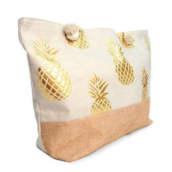 Gold Metallic Pineapple Ladies Tote Bag - LTBG1200