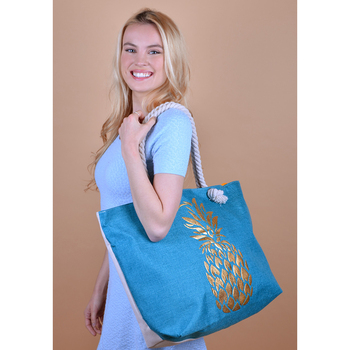 Blue and Gold Pineapple Ladies Tote Bag - LTBG1203