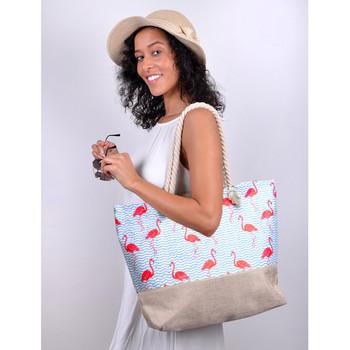 Flamingo Summer Rhinestone Ladies Tote Bag - LTBG1207