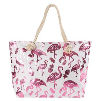 Pink Metallic Flamingo & Pineapple Ladies Tote Bag