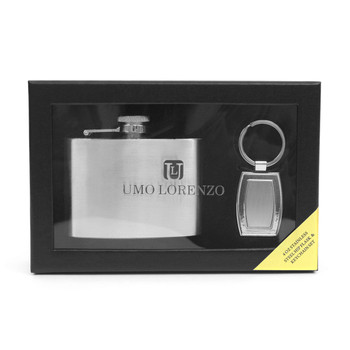 Boxed Silver Tone Flask & Keychain Set FK1000