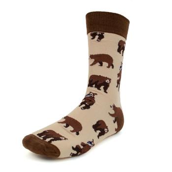 Men's Brown Bear Novelty Socks - NVS19377