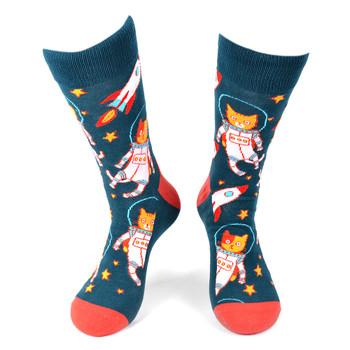 Men's Space Cats Novelty Socks - NVS19549-GRNV