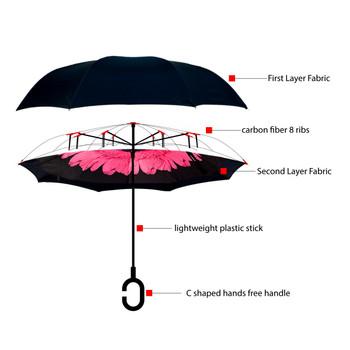 Pink Flower Double Layer Inverted Umbrella - UM18052-PK/BK