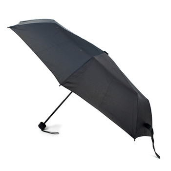 Black Telescopic Compact Umbrella with Plastic Handle - UM5004