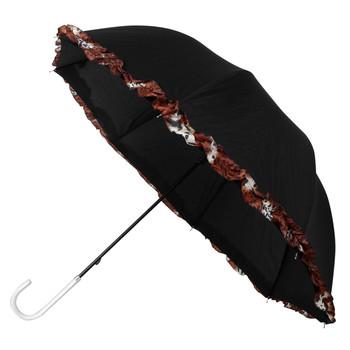 Petite Black Umbrella with Leopard Print Border - UM5012