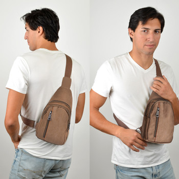 Brown Crossbody Canvas Sling Bag Backpack with Adjustable Strap - FBG1821-BR