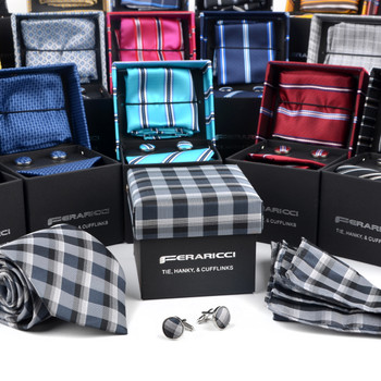 24pc Assorted Pack Boxed Poly Woven Tie, Hanky & Cufflink Set - PWFBGB