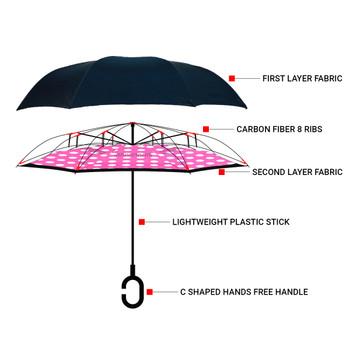Pink Big Polka Dot Double Layer Inverted Umbrella - UM18063-1
