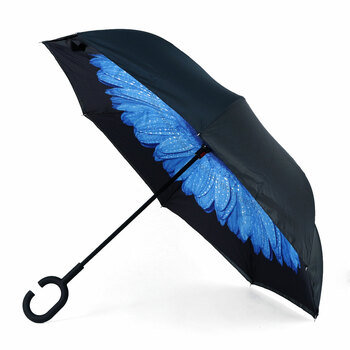 Deep Blue Flower Double Layer Inverted Umbrella - UM18066-1