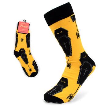 Ladies Halloween Coffin & Spider Novelty Socks-LNVS2001