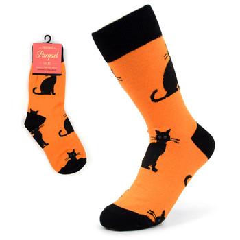 Ladies Halloween Black Cat Novelty Socks-LNVS2002