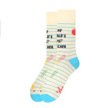 """Men's """"The World's Best Teacher"""" Novelty Socks - NVS19563-YW"""