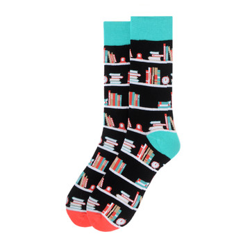 Men's Book Shelves Novelty Socks - NVS19570-BK