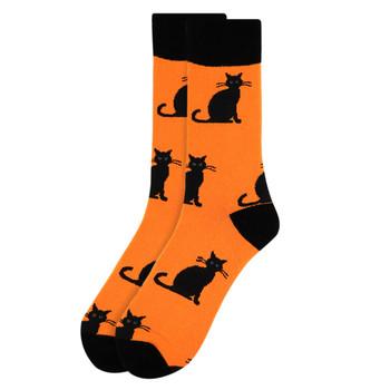 Men's Halloween Black Cat Novelty Crew Socks-NVS2002