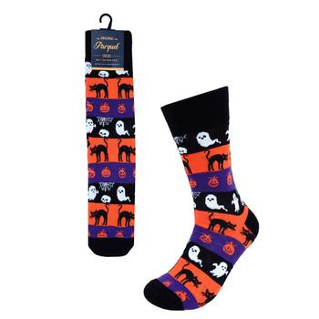 Halloween Ghosts and Pumpkin Novelty Socks- NVS19612-BK