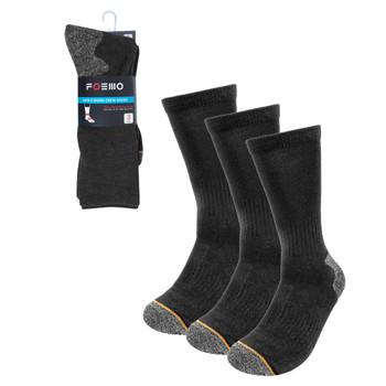 3-Pack Men's Charcoal Heavy  Duty Crew Socks- 3PK-WKS01-CHAR