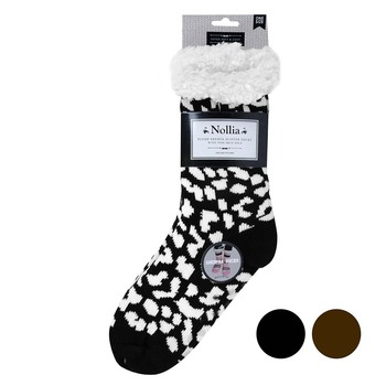 Women's Winter Fleece Lining Cheetah Print Sherpa Socks - WFLS1024