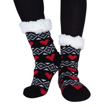 Women's Plush Sherpa Winter Fleece Lining Heart Slipper Socks - WFLS1026-BK