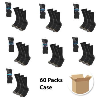 60 Packs Case Set Men's Charcoal Heavy  Duty Crew Socks- 3PK-WKS01-CHAR-60