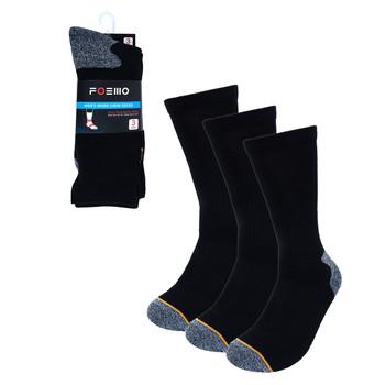 60 Packs Men's Charcoal Heavy Duty Crew Socks- 3PK-WKS01-BK-60