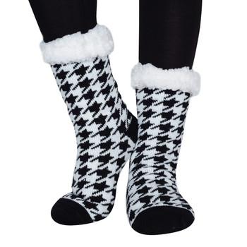 Women's  Sherpa Winter Fleece Black and White Slipper Socks - WFLS1021-BK