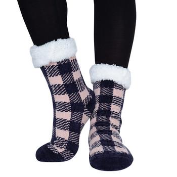 Women's Plush Sherpa Winter Fleece Lining Pink Plaid Slipper Socks - WFLS1022-PK