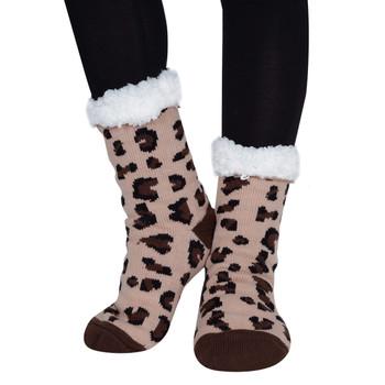 Women's Sherpa Fleece Lining Brown Leopard Slipper Socks - WFLS1023-BR
