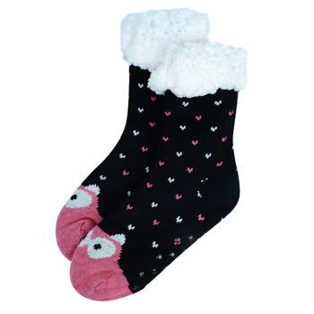 Women's Pink Owl Plush Sherpa Winter Fleece Lined Slipper Socks - WFLS-A1002