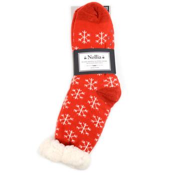 Women's Plush Sherpa Winter Fleece Lining Red Snowflakes Slipper Socks - LPS1002