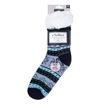 Women's Plush Sherpa Winter Fleece Lining Navy Snowflakes Slipper Socks - WFLS1006