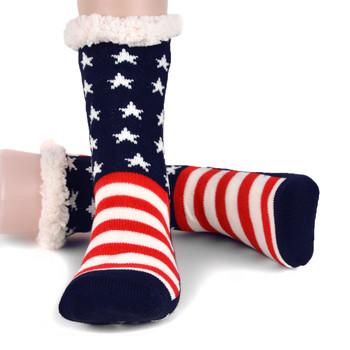 Women's Plush Fleece Lined American Flag Sherpa Slipper Socks - WFLS1013-AF