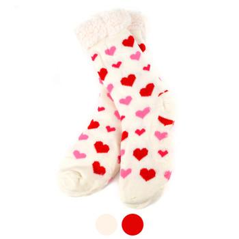 Women's Plush Sherpa Winter Fleece Lined Hearts Slipper Socks -WFLS1017