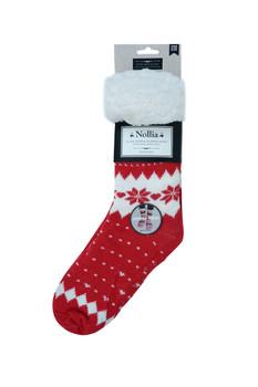 Women's Plush Sherpa Winter Fleece Lining Christmas Slipper Socks - WFXMS3000-RD